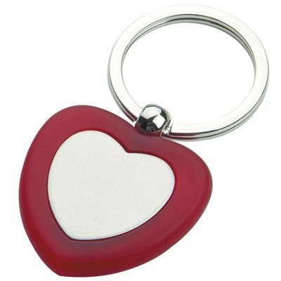 Picture of LOVE HEART METAL KEYRING in Red & Silver