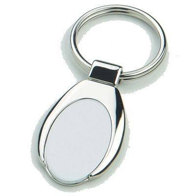 Picture of ANDREW SHINY SILVER METAL KEYRING with Matt Metal Inlay