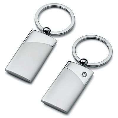 Picture of METAL KEYRING in Silver with Diamante Stone