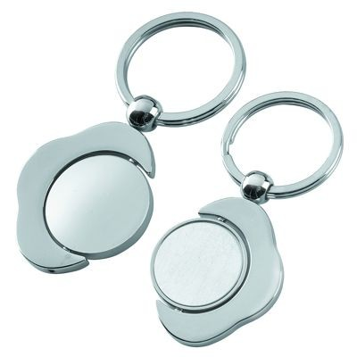 Picture of METAL KEYRING in Shiny & Satin Silver with Spinning Round Disc