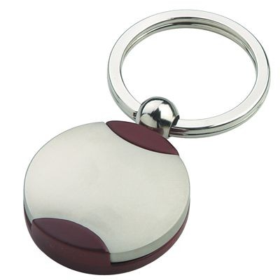 Picture of SYMBOL KEYRING in Silver Metal & Wood