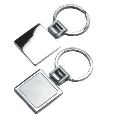Picture of SQUARE METAL KEYRING in Shiny & Satin Silver