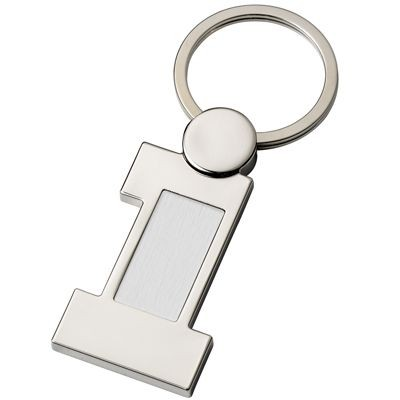 Picture of NUMBER ONE SILVER METAL KEYRING with Aluminium Silver Metal Plate Insert