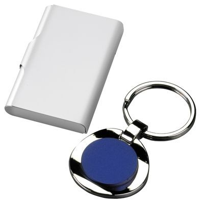 Picture of CHROMED METAL KEYRING with Blue Centre