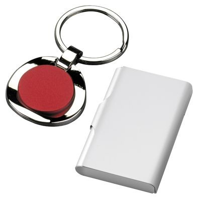 Picture of CHROMED METAL KEYRING with Red Centre
