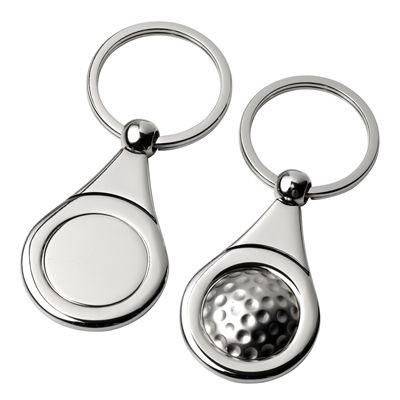 Picture of GOLF SILVER METAL KEYRING with Golf Ball Design