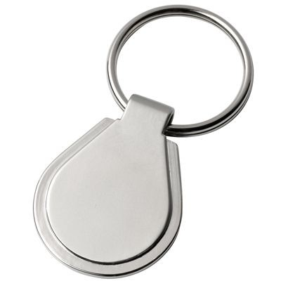 Picture of OVAL METAL KEYRING in Satin Silver Finish