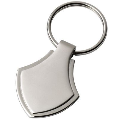 Picture of SHIELD METAL KEYRING in Satin Silver Finish