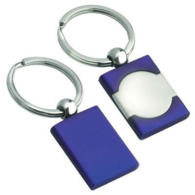 Picture of METAL KEYRING in Satin Silver & Blue