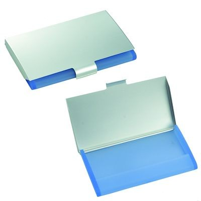 Picture of BERING BUSINESS CARD HOLDER in Silver Metal & Blue