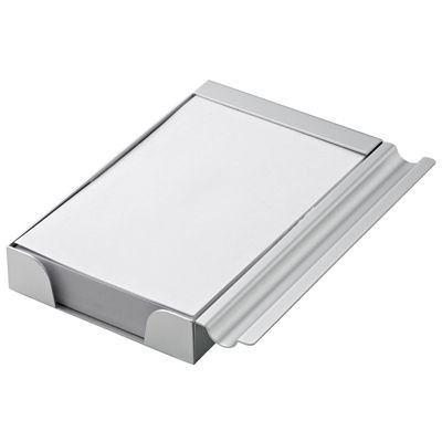 Picture of ALUMINIUM SILVER METAL DESK MEMO NOTE PAD with Pen Holder