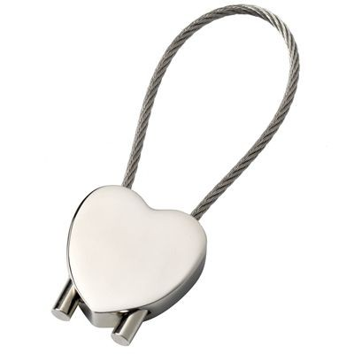 Picture of HEART METAL KEYRING in Silver with Cable