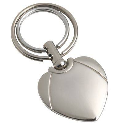 Picture of SILVER METAL HEART KEYRING with Double Rings
