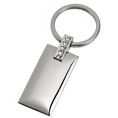 Picture of RECTANGULAR SILVER METAL KEYRING with Crystal Decoration