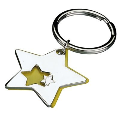 Picture of STAR 2 PART METAL KEYRING in Silver & Yellow