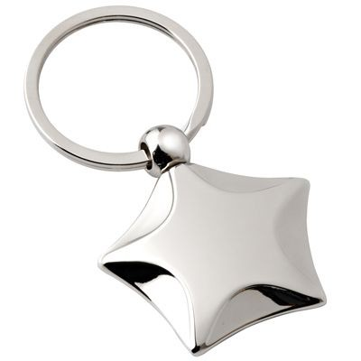 Picture of STAR SILVER CHROME METAL KEYRING