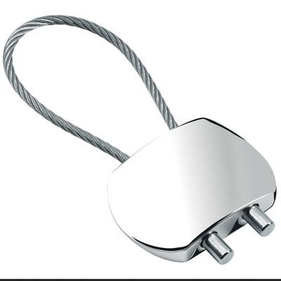 Picture of SHINY SILVER METAL KEYRING with Cable