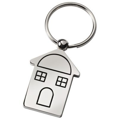 Picture of CHALET HOUSE SHAPE SILVER METAL KEYRING