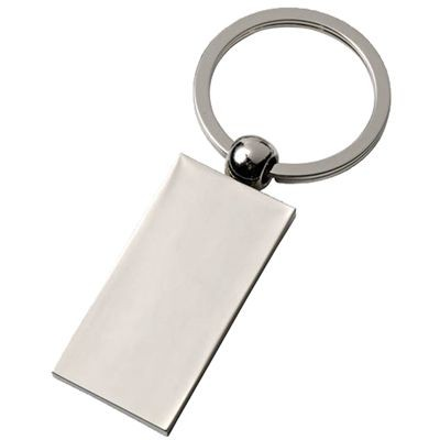 Picture of RECTANGULAR SILVER CHROME METAL KEYRING