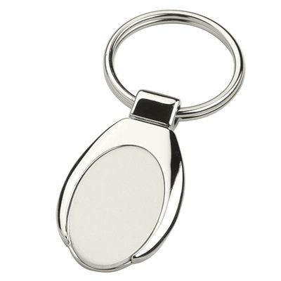 Picture of ANDREW OVAL SHINY SILVER METAL KEYRING