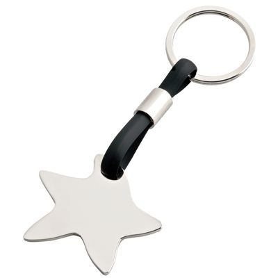 Picture of SILVER CHROME METAL & BLACK PVC STAR KEYRING