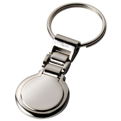 Picture of ROUND SHINY SILVER METAL KEYRING