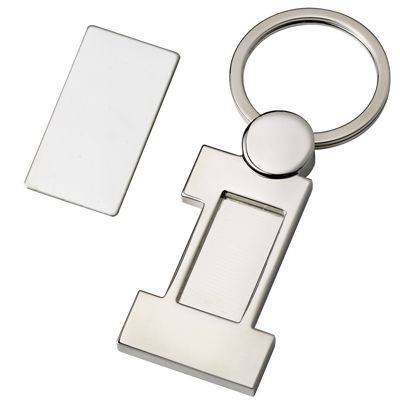 Picture of NUMBER ONE SHINY SILVER METAL KEYRING with Detachable Plate