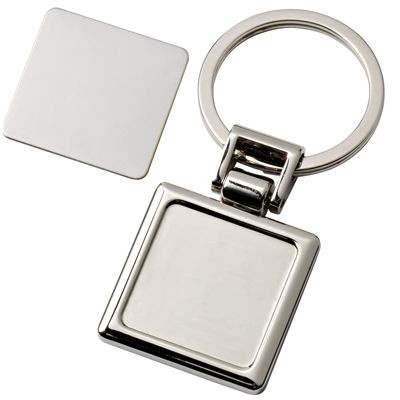 Picture of SQUARE SILVER CHROME METAL KEYRING with Detachable Plate