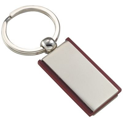 Picture of RECTANGULAR SILVER CHROME METAL & WOOD KEYRING