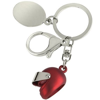 Picture of SILVER METAL & RED CRASH HELMET KEYRING