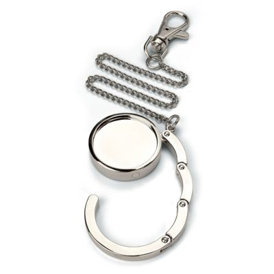 Picture of HANDBAG HANGER HOOK in Silver Chrome Metal with Chain