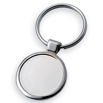 Picture of ROUND GROOVE SILVER METAL KEYRING with Separate 25mm Plate
