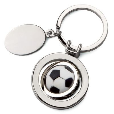 Picture of ROTATING FOOTBALL METAL KEYRING with Tag