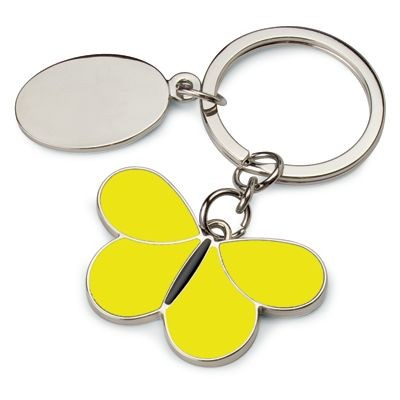 Picture of BUTTERFLY METAL KEYRING in Yellow & Black