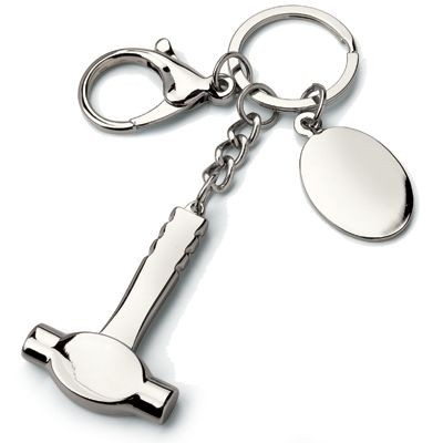 Picture of BUILDER HAMMER METAL KEYRING in Silver