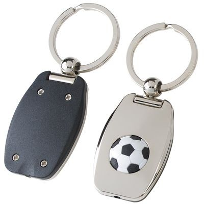 Picture of SILVER METAL FOOTBALL KEYRING with Red Light