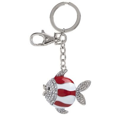 Picture of FISH METAL KEYRING in Red & White with Crystals