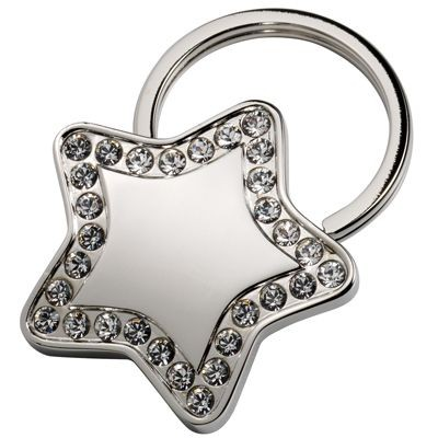 Picture of STAR SILVER METAL KEYRING with Crystal Decoration