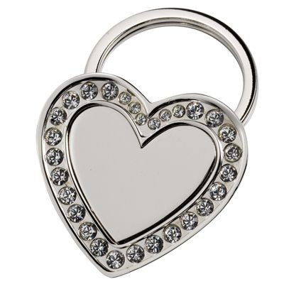 Picture of HEART SILVER METAL KEYRING with Crystal Decoration