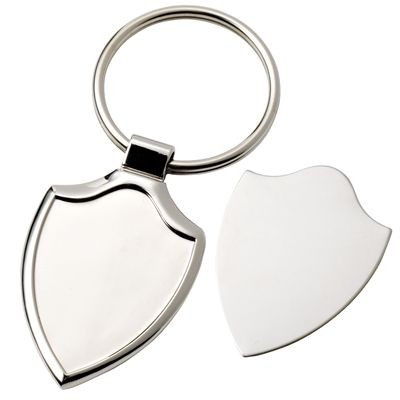 Picture of SHIELD SILVER CHROME METAL KEYRING with Detachable Plate