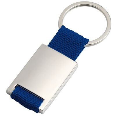 Picture of SILVER METAL KEYRING with Blue Webbing Strap
