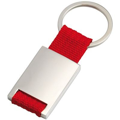 Picture of SILVER METAL KEYRING with Red Webbing Strap