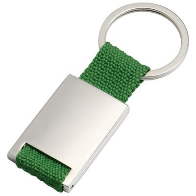 Picture of SILVER METAL KEYRING with Green Webbing Strap