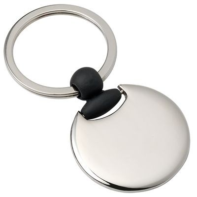 Picture of ROUND METAL KEYRING in Silver & Black