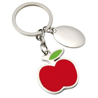 RED APPLE METAL KEYRING