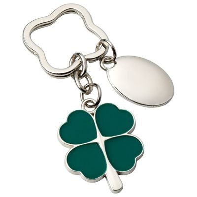 Picture of FOUR LEAF CLOVER METAL KEYRING in Silver & Green