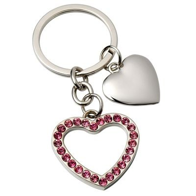Picture of HEART METAL KEYRING with Pink Crystals