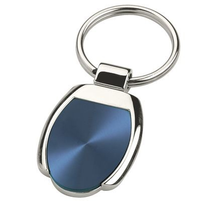 Picture of TOLEDO SILVER METAL KEYRING with Blue Inset Plate