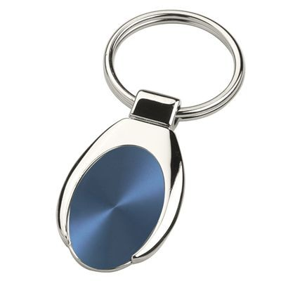 Picture of ANDREW SILVER METAL KEYRING with Blue Inset Plate
