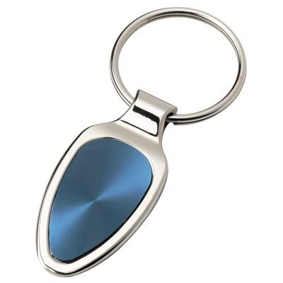 Picture of SILVER METAL KEYRING with Blue Inset Plate